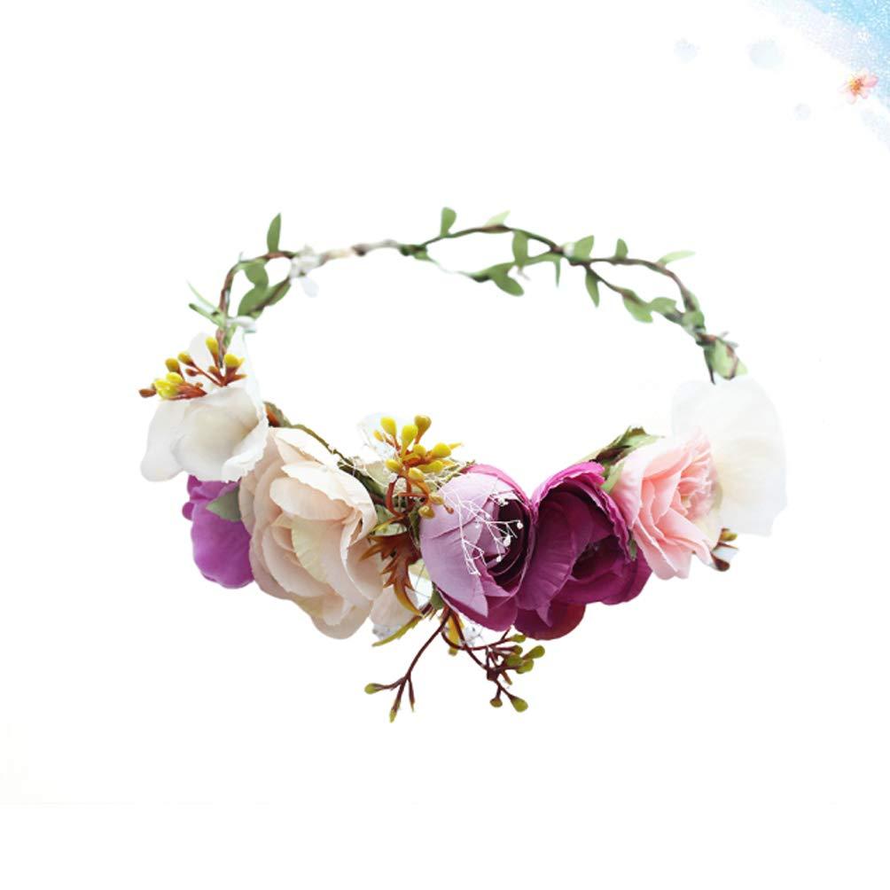 Amosfun Flower Headband Vintage Boho Flower Hair Wreath Floral Garland Crown Halo Headpiece for Christmas Holiday Wedding Travel Yellow