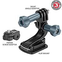 USA Gear Flat Surface Adhesive Action Camera Mount with J Hook , Tripod Screw and Right Angle Adapter - Works W/ GoPro Hero6 Black , Hero5 Black/Session , YI 4K , HTC RE Camera , AKASO EK7000 and More by USA Gear