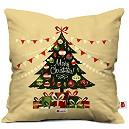 Indigifts Beidge Christmas Tree Print Cushion Cover 12×12 with Filler (Xmas, Him, Boy, Girl, Dad, Mom, Friends, Family) – Christmas Decorations