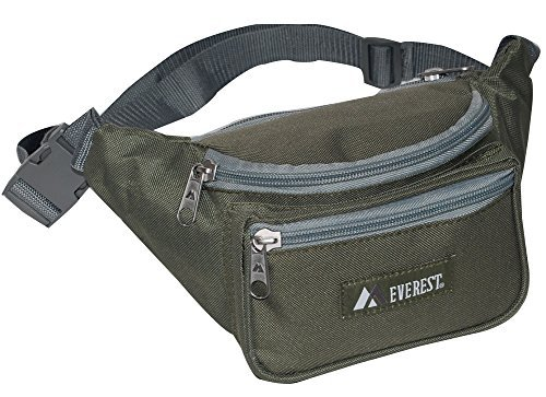 Everest Regular Size Fanny Pack. OLIVE (Travel Waist Pack)