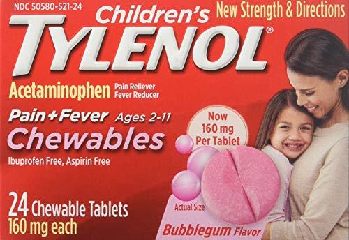 Children's Tylenol Chewables; Acetaminophen for Pain & Fever Relief; Bubble Gum; 24 ()