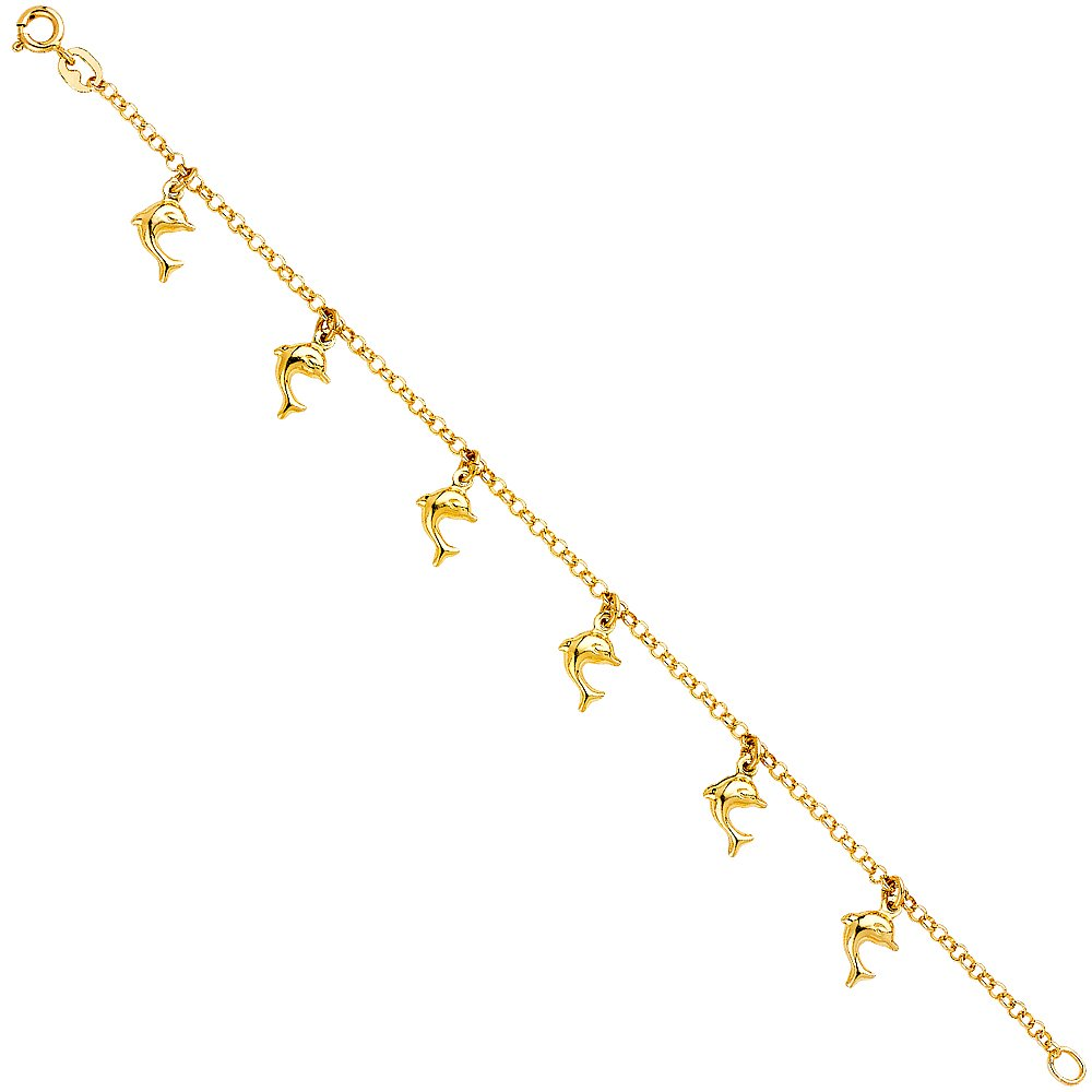 Wellingsale 14k Yellow Gold Polished Hanging Charm Bracelet 7