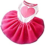 Morecome Pet Dog Puppy Heart Printed Tutu Dress Princess Lace Skirt Clothes Apparel (M)