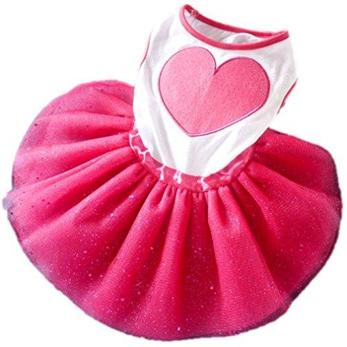 Ref Costume Fat (Morecome Pet Dog Puppy Heart Printed Tutu Dress Princess Lace Skirt Clothes Apparel)