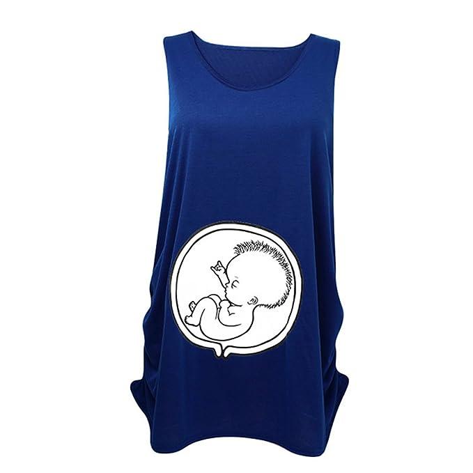 WEIMEITE Camiseta de maternidad Camiseta Tops Algodón sin mangas Chaleco de embarazo divertida Tops Azul S