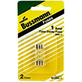 Bussmann BP/MDL-1 1 Amp Time Delay Glass Tube Fuse, 250Vac UL Listed Carded, 2-Pack