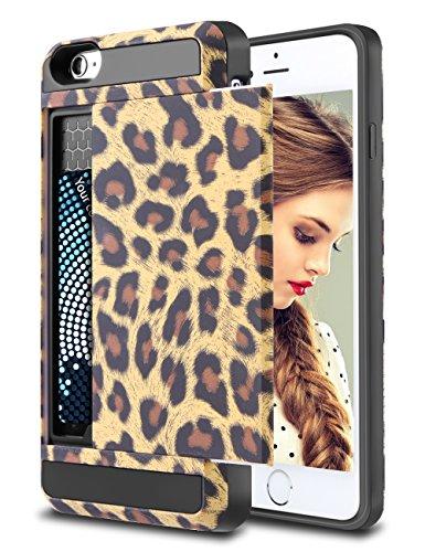 Leopard Iphone Case (iPhone 6S Plus Case, Vofolen Card Slot Holder iPhone 6S Plus Wallet Case Dual Layer Protective Shell Tough Bumper Armor Scratch-proof Hybrid Cover Case for iPhone 6S Plus 5.5 inch - Leopard)