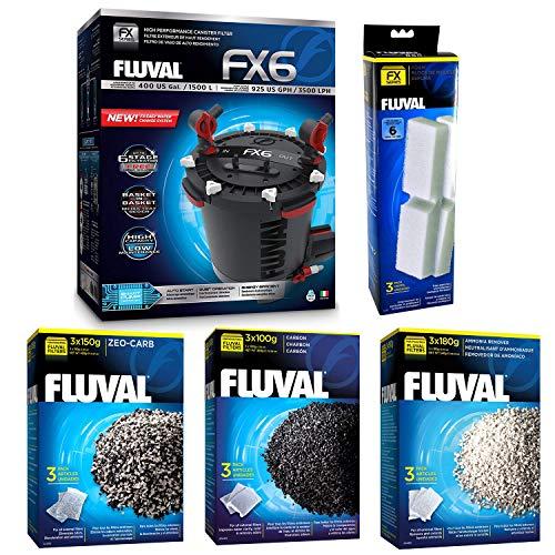 Fluval FX6 A219 Filter w/Foam, Carbon, Ammonia Remover & Zeo-Carb 3mo (Hagen Fluval Ammonia Remover)