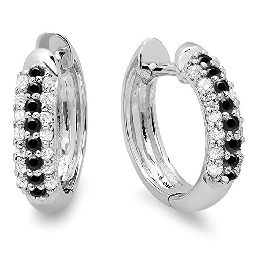 Dazzlingrock Collection 0.30 Carat (ctw) 10K Round Black & White Diamond Pave Set Huggies Hoop Earrings 1/3 CT, White ()
