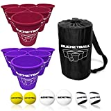BucketBall - Team Color Edition - Combo Pack (Maroon/Purple): Original Yard Pong Game: Best Camping, Beach, Lawn, Outdoor, Family, Adult, Tailgate Game