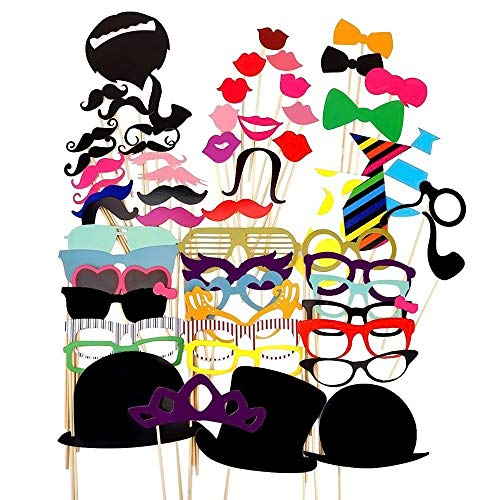 Party Props for Photo Booth Birthday Wedding Kids Adult Prom 58 Pcs, Funny Skywoo Costumes with Mustache on a stick, Hats, Glasses, Mouth, Bowler, -