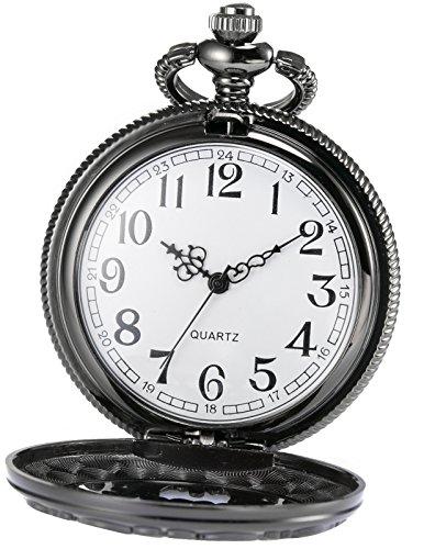 AMPM24 Women Men's Dad Black Dangle Pendant Pocket Quartz Watch Gift + Chain WPK051 by KS (Image #2)