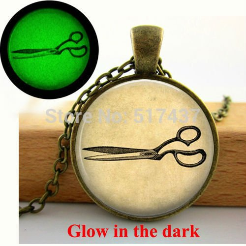 Pretty Lee Glow In The Dark Vintage Scissors Necklace Hairdresser Necklace Scissors Jewelry Art Photo Glass Dome Pendant Glowing - Geo Pendant Led