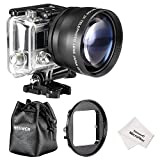 Neewer® 58MM High Definition Telephoto Lens Kit for Gopro HERO 3, Kit includes: (1)58MM 2X High Definition Telephoto Lens (including Lens Bag) + (1)58MM Filter Adapter Ring + (1)Microfiber Cleaning Cloth