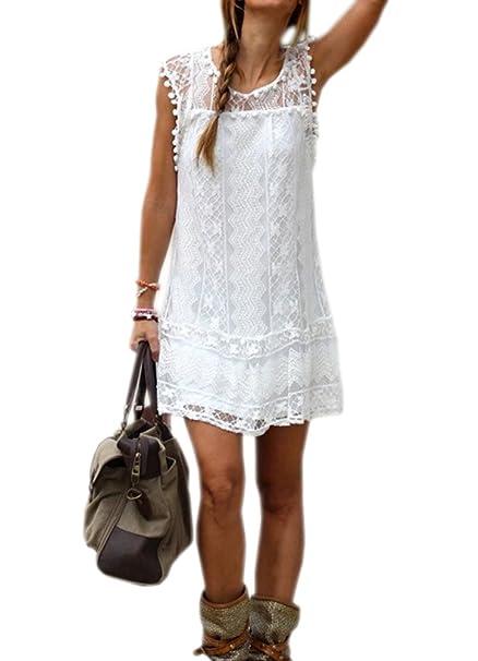 DELEY de Mujer de Verano sin Mangas de la Playa Vestido de Fiesta Casual Encaje Túnica