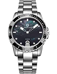 Granton Womens Watches Diamond Accented Swiss Quartz Black Mother of Pearl Dial Silver Tone Stainless Steel Wrist...
