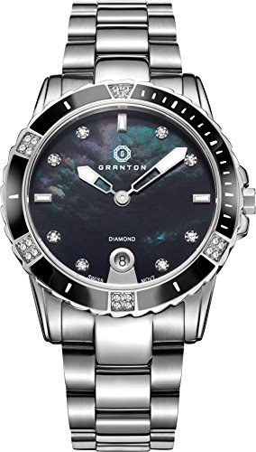 Granton Womens Watches Diamond Accented Swiss Quartz Black Mother of Pearl Dial Silver Tone Stainless Steel Wrist Watch (Pearl Ss Dial)