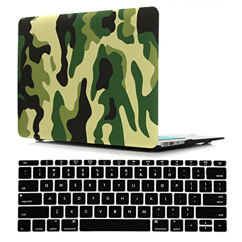iZi Way Military Style Plastic Hard Case with Black Keyboard Cover for Apple Laptop MacBook Air 13 Inch (Models: A1369 and A1466), Camouflage Forest Green