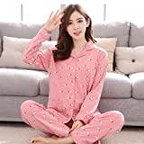 MOXIN Women's Pajamas Autumn and Winter Cotton Long-Sleeved Home Service Suit Nightgown , xl , 8#