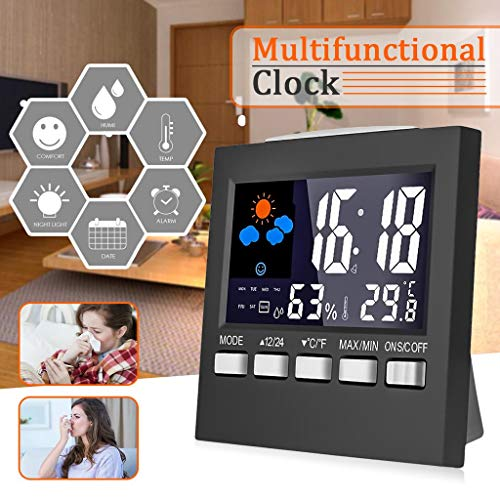 YIGEYI Multifunctional Color LCD Screen Temperature Hygrometer Weather Calendar Time Alarm Clock Xmas Gift The Perfect one for You ()