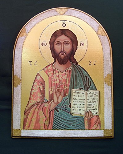 Christ the Teacher Florentine plaque with white and gold border, 23 x 31 inches. Made in Italy. by GSV001