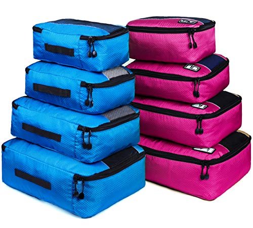 8 Set Packing Cubes, Travel Luggage Bags Organizers Mixed Color Set(rose/blue)
