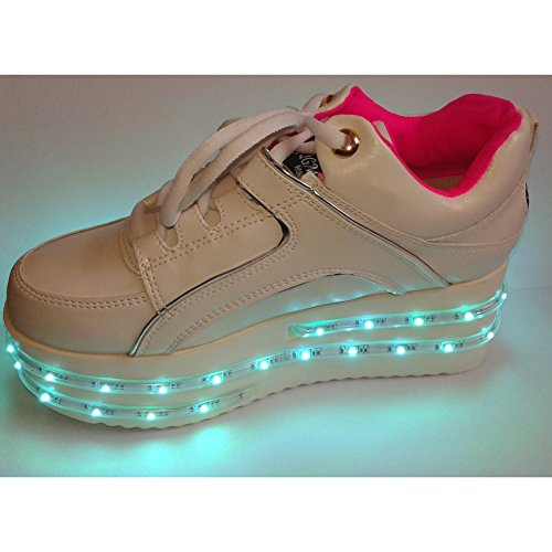 ACEVER Colors Changing LED Shoes Flashing Sneakers USB Charging LED Lighted Luminous Couple Casual Shoes Men's and Women's LED Shoes LED Sneakers Christmas Cosplay Halloween Party Rave Party Valentine's Day Gift Sports Shoes (US65-Women) by ACEVER
