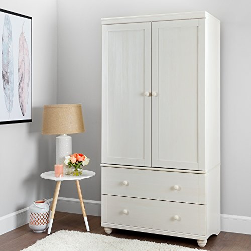 (South Shore Hopedale Tall 2-Door Storage Cabinet with Drawers and Adjustable Shelves, White Wash)