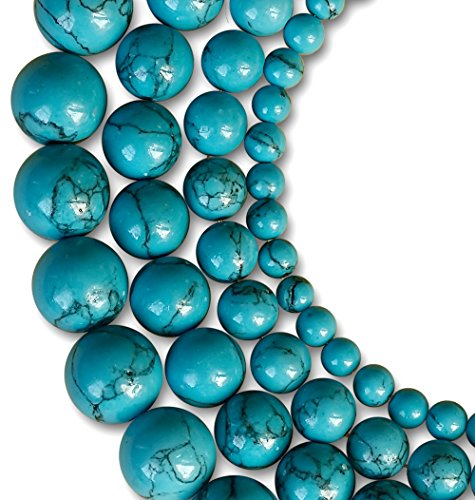 LK-CRAFTS Natural Blue Turquoise Gemstone Round Loose Beads For Jewelry Making Findings /Accessories 1 Strand 15.5 inches - 8mm