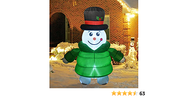 GOOSH 6Foot High Christmas Inflatable Blow up Down-Filled Coat Snowman Holiday Yard Decoration, Indoor Outdoor Garden Inflatable Christmas Decorations.