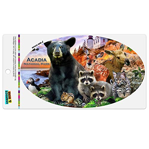 Graphics and More Acadia National Park Maine ME Animals Bear Racoon Deer Moose Automotive Car Refrigerator Locker Vinyl Euro Oval - Park Me National Acadia