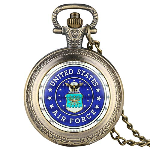 USA Airforce Pocket Watch, Army Pendant Necklace, Gifts for Boys Teens