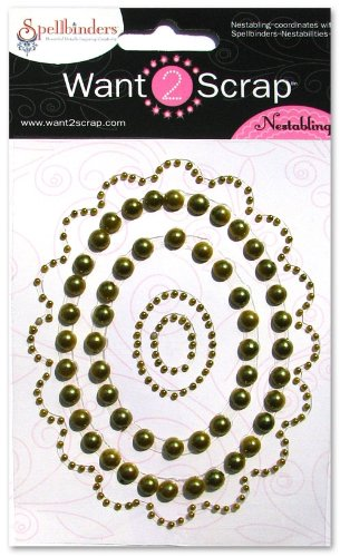 - Want2Scrap Nestabling Lacey Ovals Moss Pearls/Moss Pearls