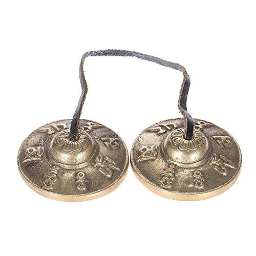 SKNSM Divertente Tingsha Bells, 6,5 cm Handcrafted Copper Tibetan Bells Six Words Mantra Tingsha per Regalo