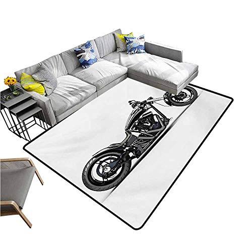 (Bathroom Rug Kitchen Carpet Manly,Custom Motorcycle Horsepower Adventurous Journey Freedom Ride Masculine Vehicle,Grey Black White 36