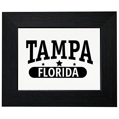 Trendy Tampa, Florida with Stars Framed Print Poster Wall or Desk Mount Options