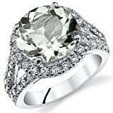 4.25 Carats Green Amethyst Engagement Ring Sterling Silver Sizes 5 to 9