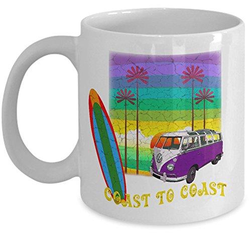 Surfing coffee tea mug - Coast to coast ceramic cup