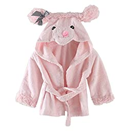 LittleSpring Baby Girls\' Bathrobe Animal Cartoon Size 0-3T Pink