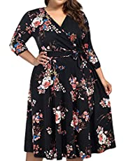 kissmay Plus Size Womens V Neck Floral Cocktail Party Midi Dresses with Pocket