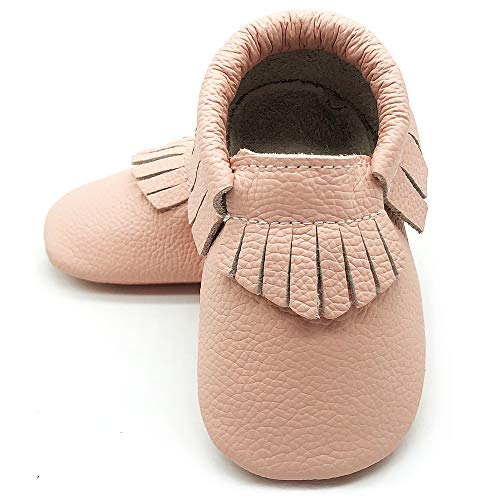 Owlowla Baby Moccasins Leather Soft Sole Newborn Crib Shoes for Boys and Girls(Blush,US5.5)