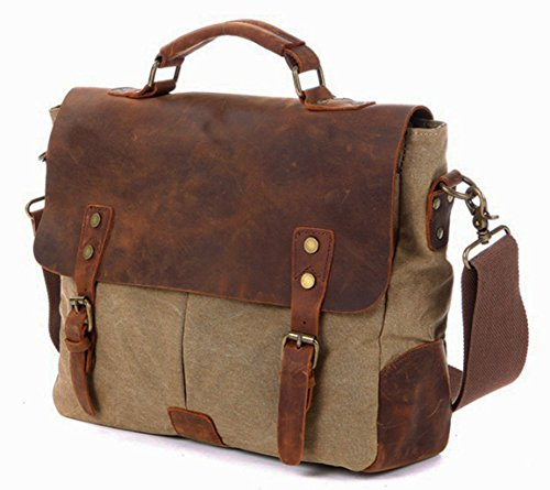 14inch Laptop Messenger Bag, Berchirly Vintage Genuine Le...