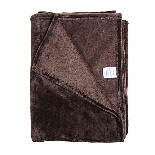 Matthem 59x79 Inch Ultra Soft Plush Velvet Fleece Bed Throw Blanket-Cozy and Warm (59x79Inch,Coffee) (Soft Plush Throw)