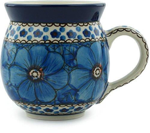 Polish Pottery Bubble Mug 12 oz Cobalt Poppies UNIKAT (Artystyczna Polish Ceramika Stoneware)