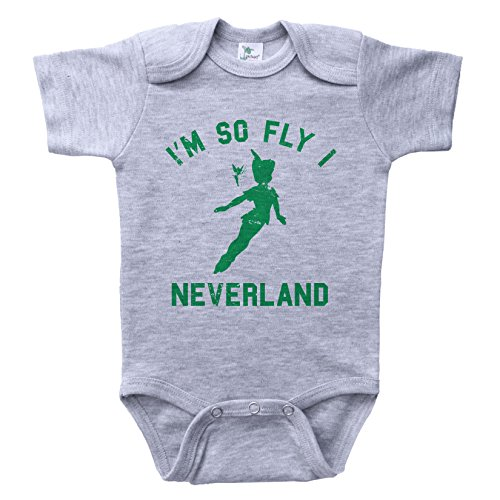Baffle Peter Pan Inspired Baby Onesie/Neverland/Funny Unisex Infant Outfit (0-3M, Grey SS) ()