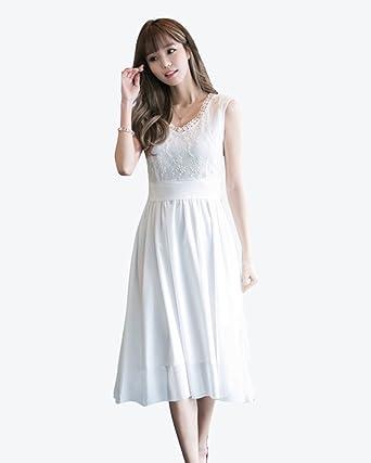 b4af7beafa9b3 KIRI レース ワンピース 白 ドレス レディース ノースリーブ 透け感 ミモレ丈 ひざ丈 シフォン 花柄