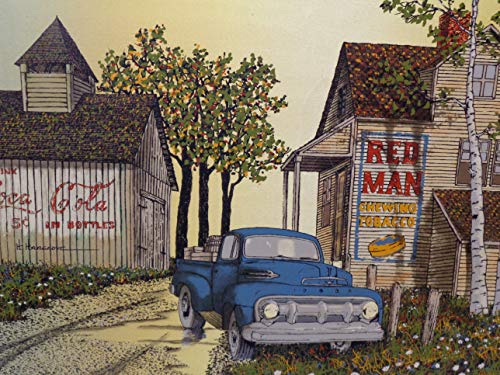 H. Hargrove Signed - ''Red Man Tobacco Barn'' 1981 Original Oil Painting On Canvas