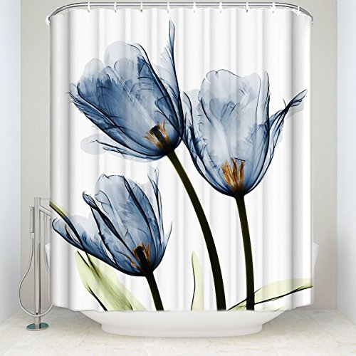 LovingIn Blue Tulip Flowers Florals Shower Curtains Fabric Polyester Bathroom Curtains with Hooks (Trio X-Ray) (Blue Tulip)