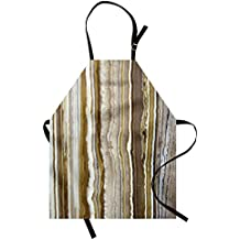 Marble Apron by Ambesonne, Onyx Marble Rock Themed Vertical Lines and Blurry Stripes in Earth Color Print, Unisex Kitchen Bib Apron with Adjustable Neck for Cooking Baking Gardening, Mustard Brown
