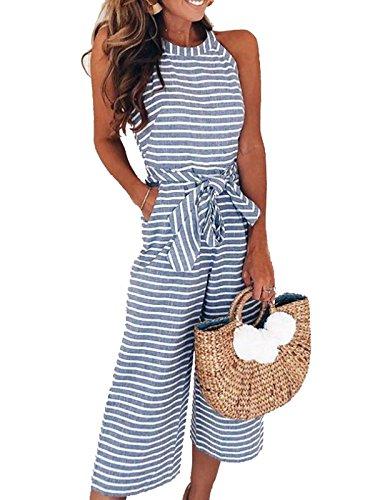 PORALA Womens Striped Sleeveless Wide Leg Jumpsuit Waist Belted Capri Pants Romper with Pockets